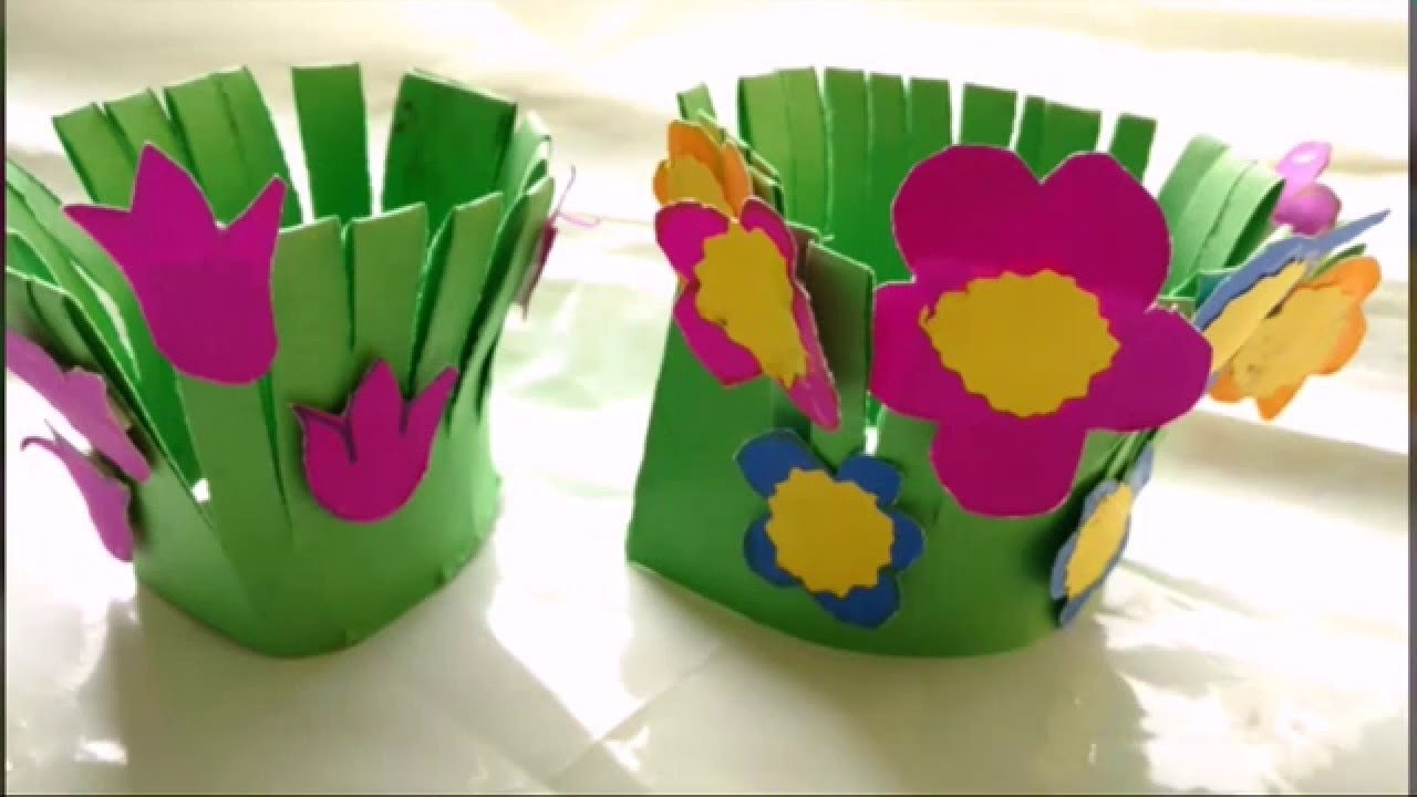 easy paper craft flower garden making for kids | paper craft diy