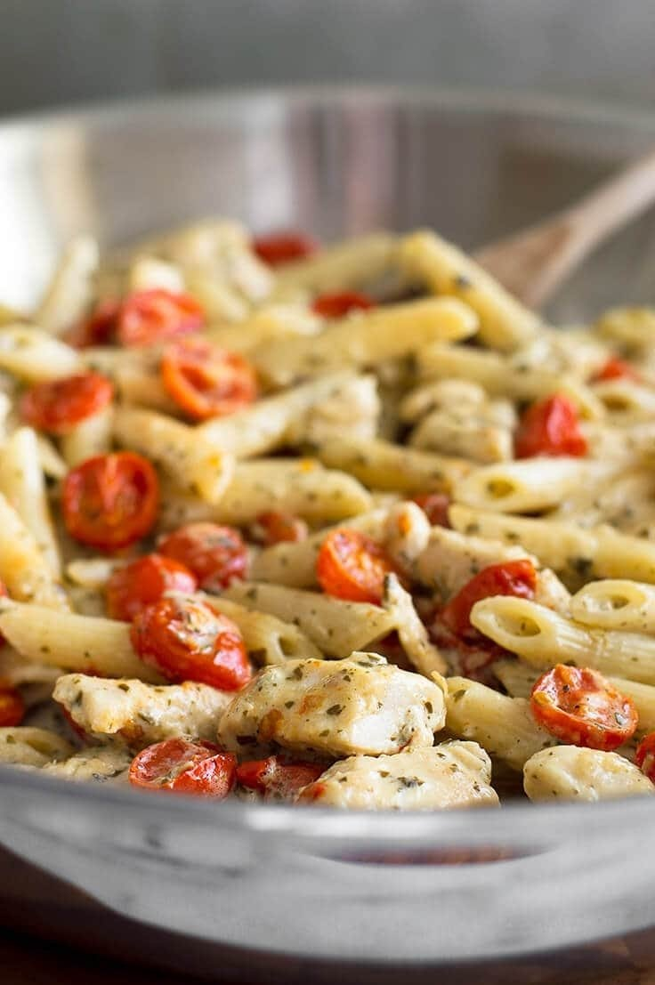 10 Gorgeous Easy Supper Ideas For Two easy pesto chicken pasta for two with oven roasted tomatoes baking 4 2020