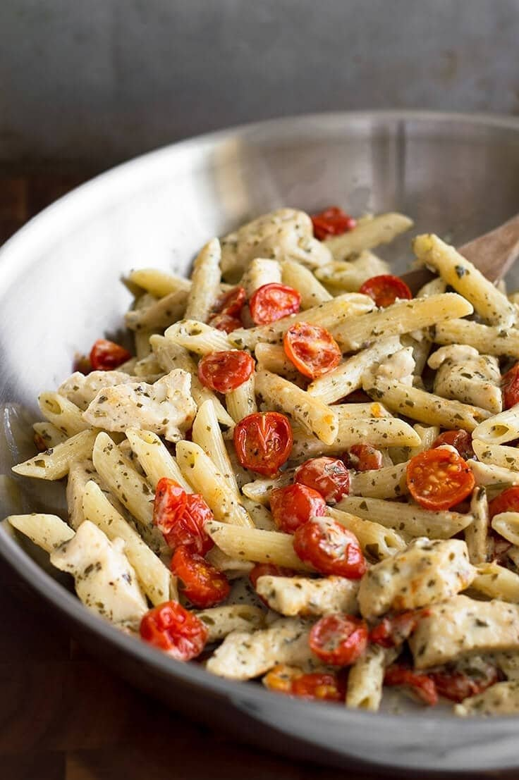10 Elegant Easy Dinner Ideas For Two easy pesto chicken pasta for two with oven roasted tomatoes baking 2021