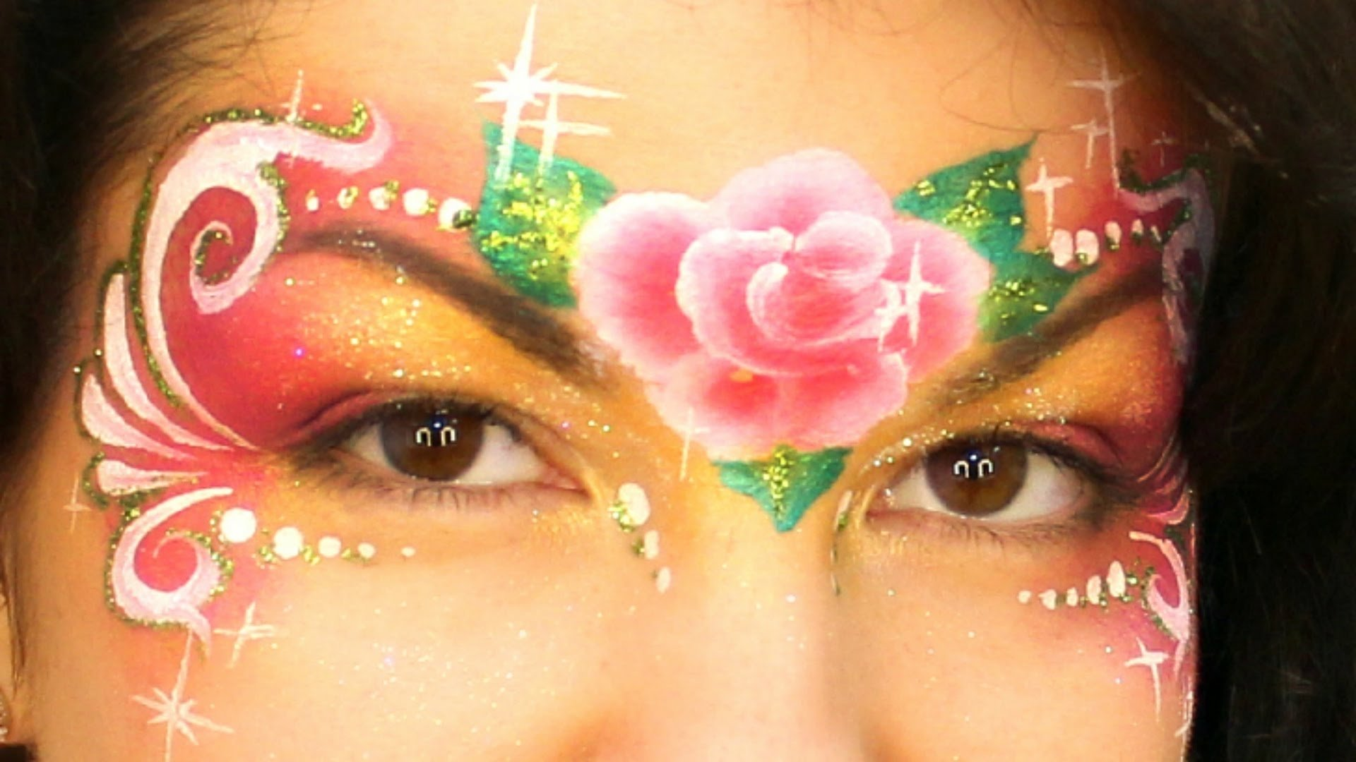 10 Lovely Face Paint Ideas For Girls easy rose princess mask f09f8cb9 one stroke rose face painting tutorial 2020