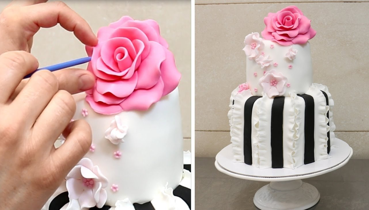 10 Famous Fondant Cake Ideas For Beginners easy ruffle cake how to decorate with fondantcakesstepbystep