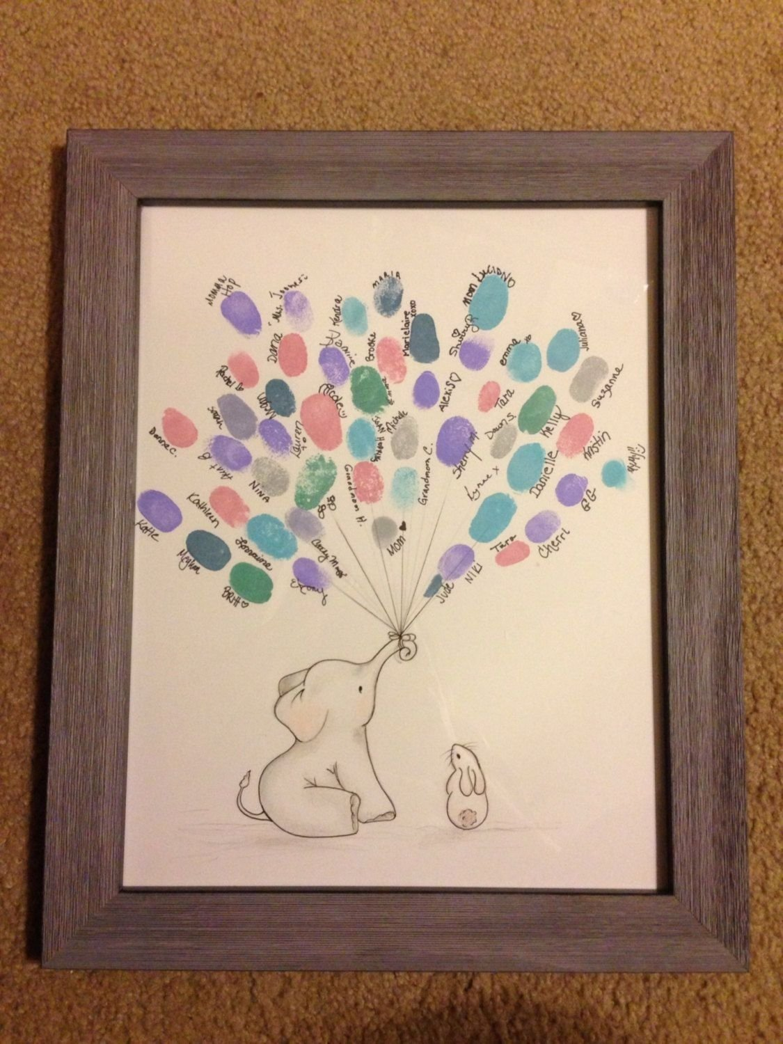 10 Awesome Baby Shower Guest Book Ideas elephant baby shower guestbook alternative thumbprint balloons 2020