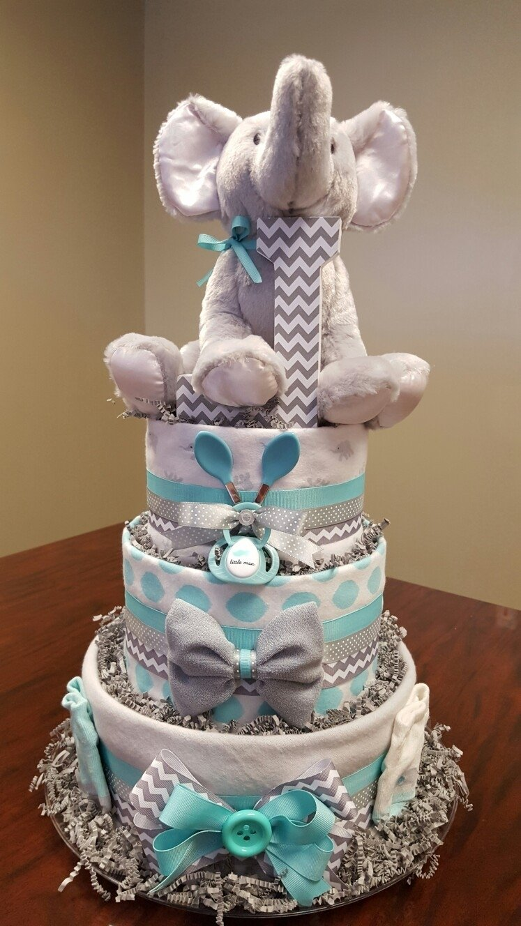 10 Cute Diaper Cake Ideas For Baby Boy elephant chevron diaper cake its a boy just as cute as the