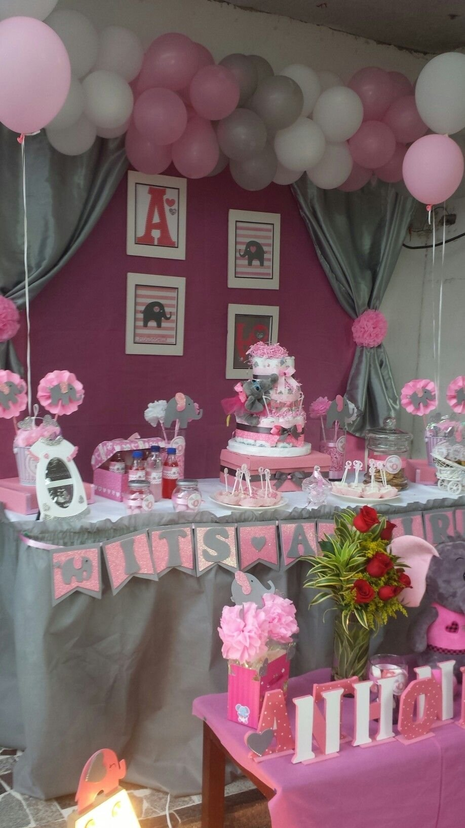 elephant pink and grey baby shower … | pinteres…