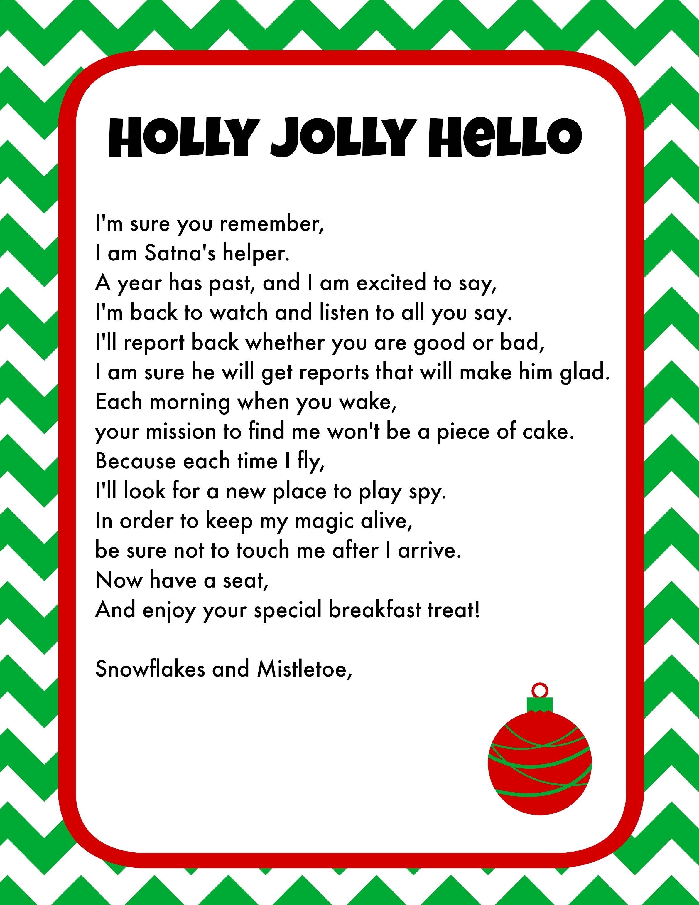 elf on the shelf breakfast ideas printable letter & christmas pjs