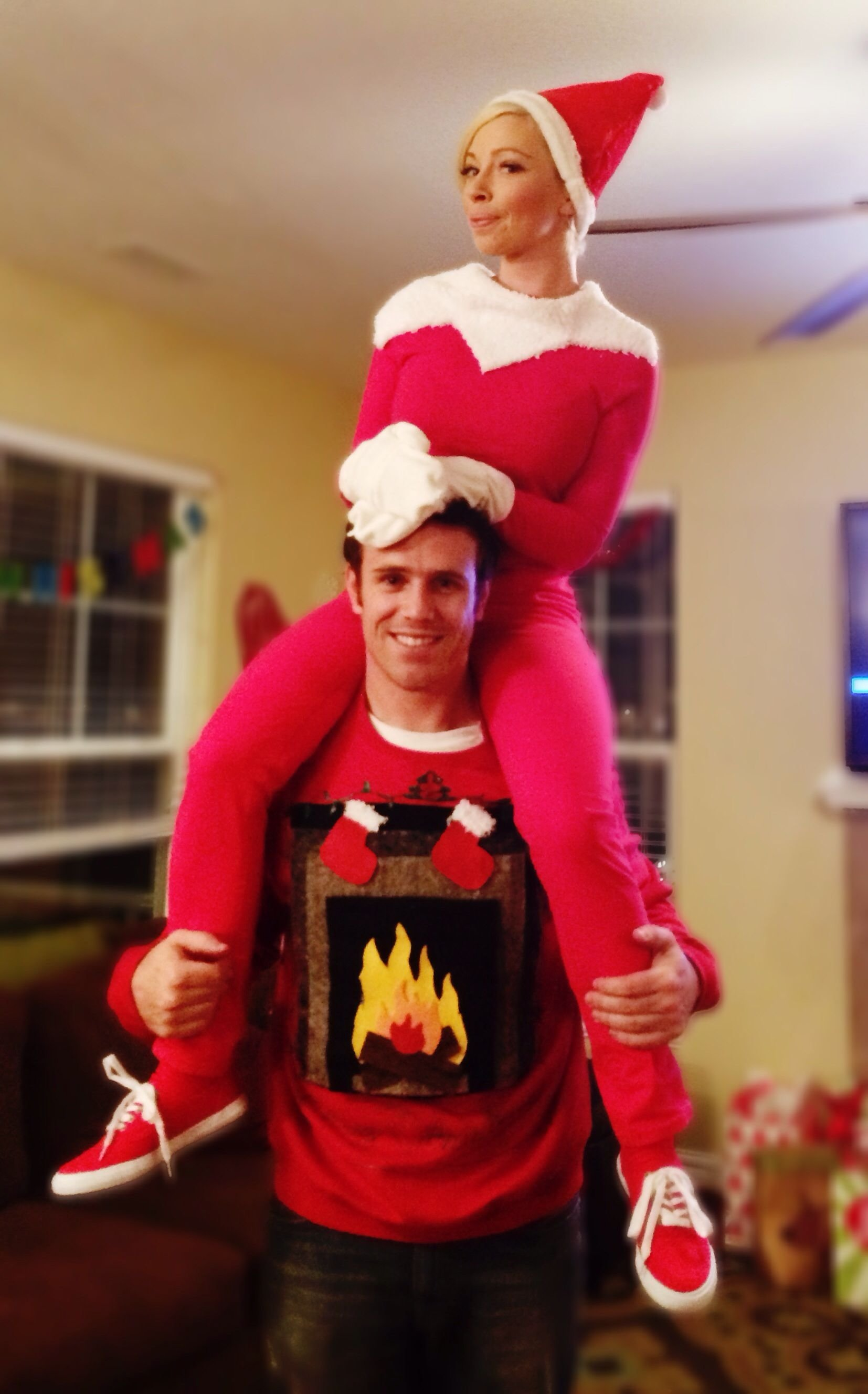 10 Awesome Ugly Christmas Sweater Ideas For Couples elf on the shelf diy costume for ugly christmas sweater party ugly 1 2020