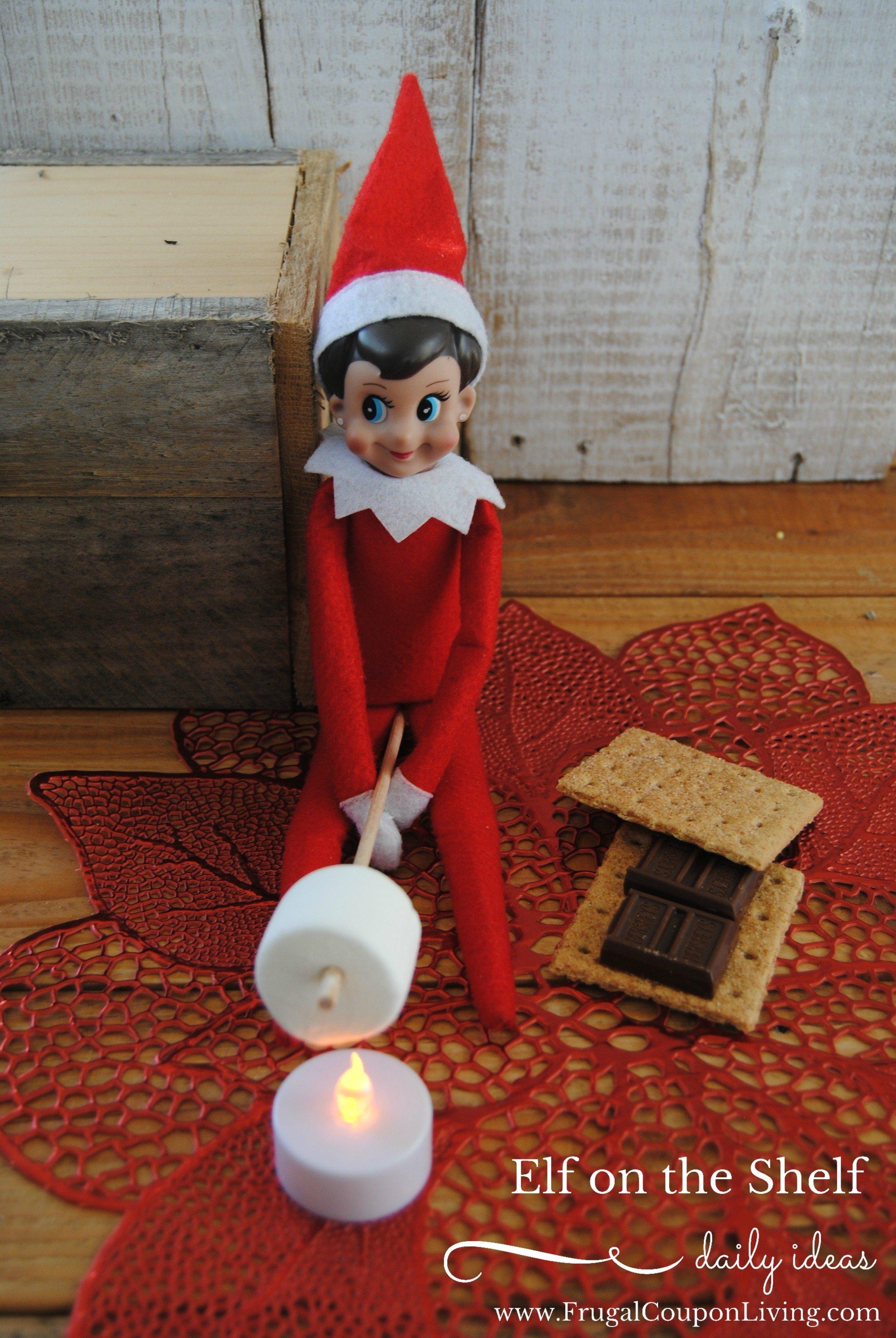 elf on the shelf ideas | elf makes s'mores