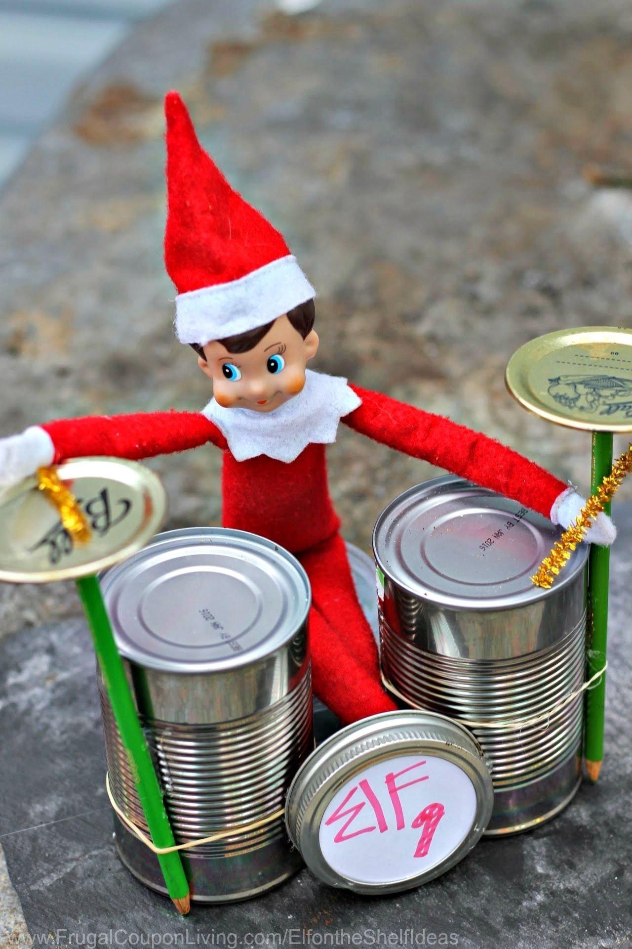 10 Stunning Elf On The Shelf Creative Ideas elf on the shelf ideas elf rock band with cans elf ideas shelf 2020