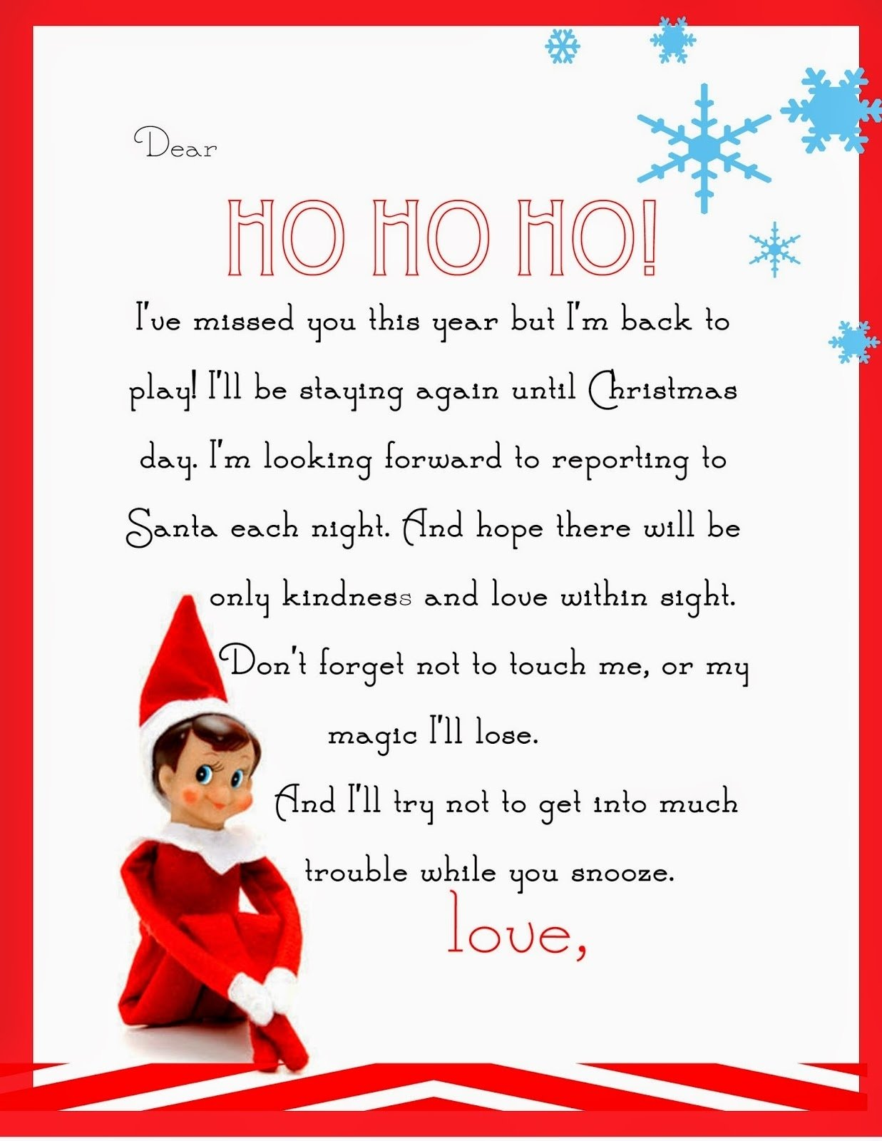 10 Stunning Letter From Elf On The Shelf Idea elf on the shelf letter free printable 1 2020