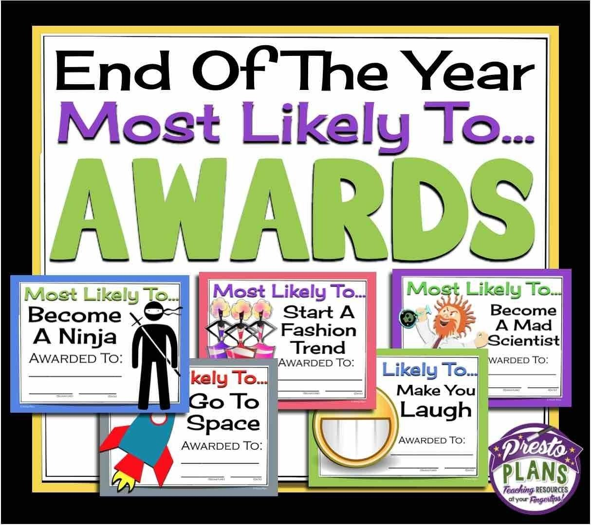10 Attractive Most Likely To Awards Ideas end your school yeargiving your students these 30 ready to print