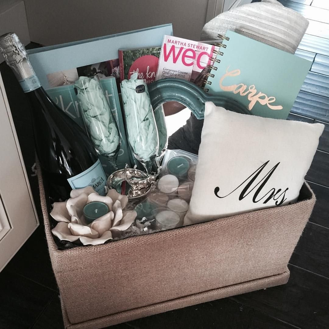 10 Stylish Engagement Gift Ideas For Couples engagement gift basket for my brothers new fiance the knot wedding 2 2020