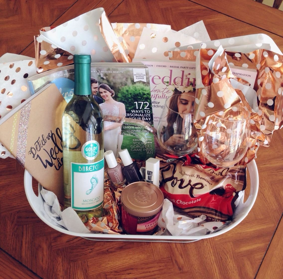 10 Awesome Fun Engagement Party Gift Ideas engagement gift basket survival kit everything your girlfriend 2020