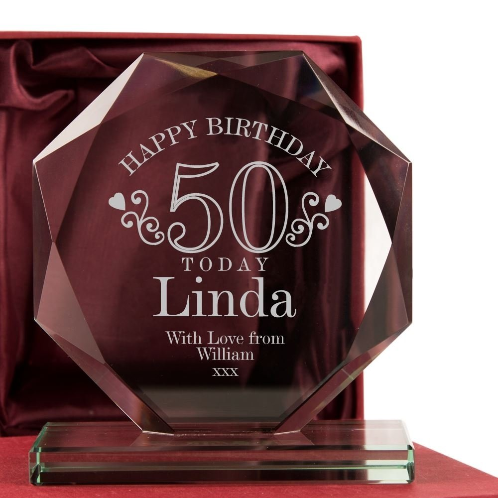 10 Fabulous 50Th Birthday Gift Ideas For Sister Engraved 50th Glass Award Her 50