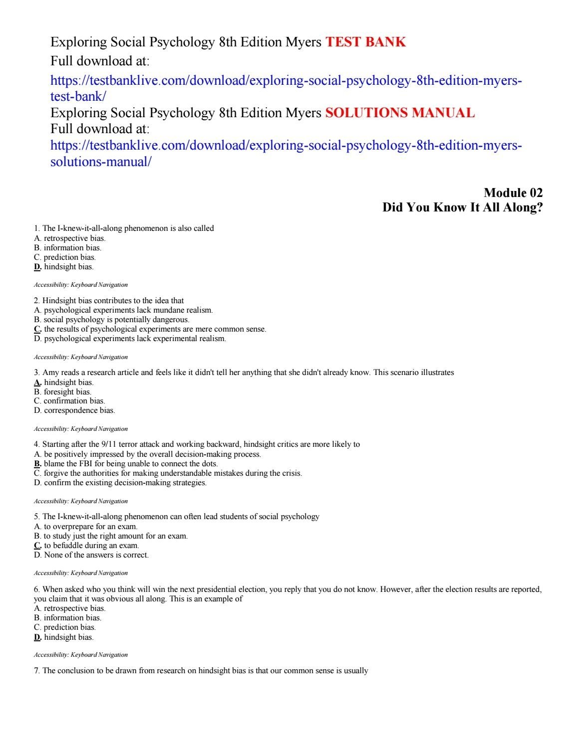 exploring social psychology 8th edition myers test bank