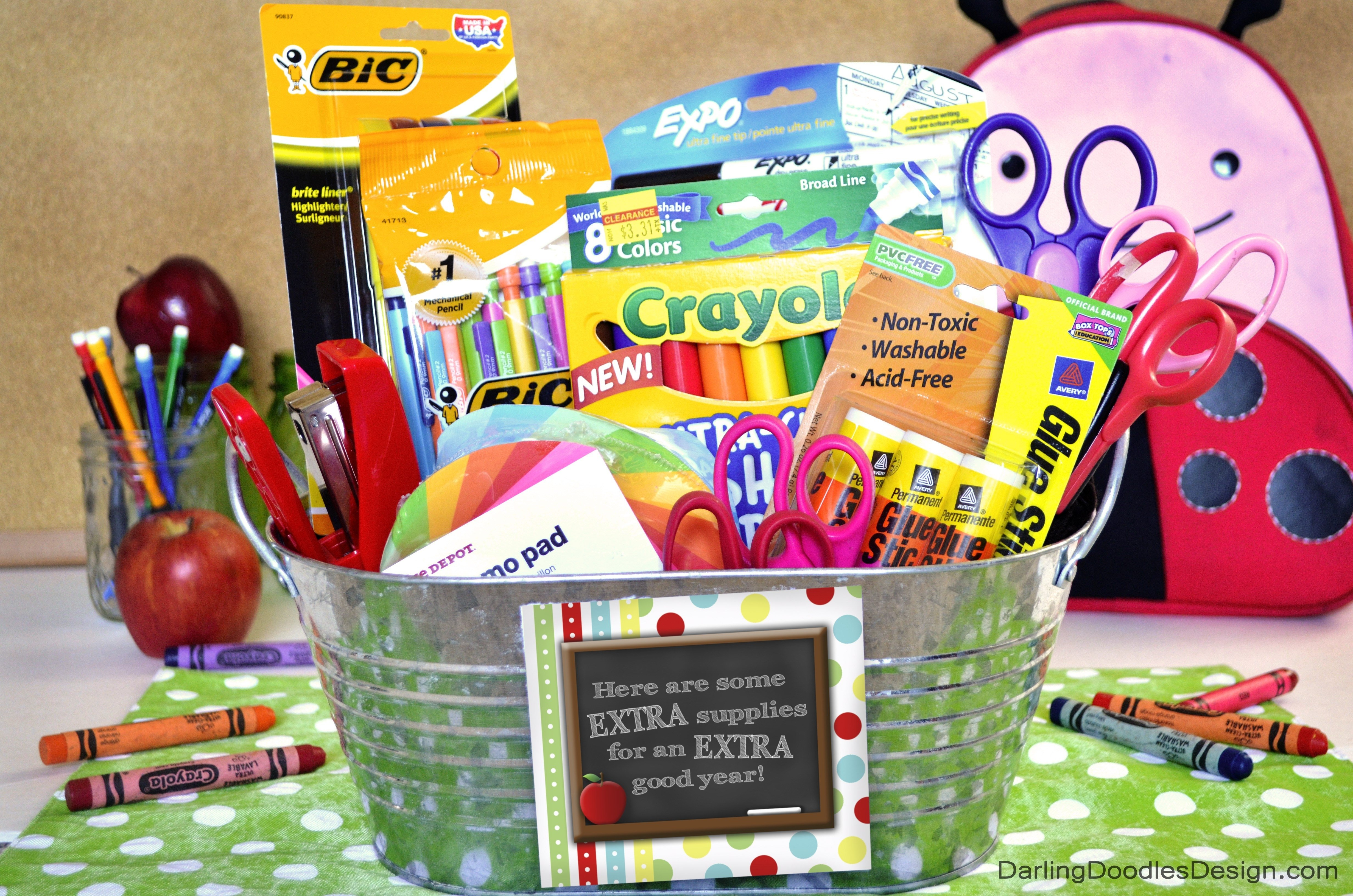 10 Great Gift Basket Ideas For Teachers extra fun back to school gift idea darling doodles 2021