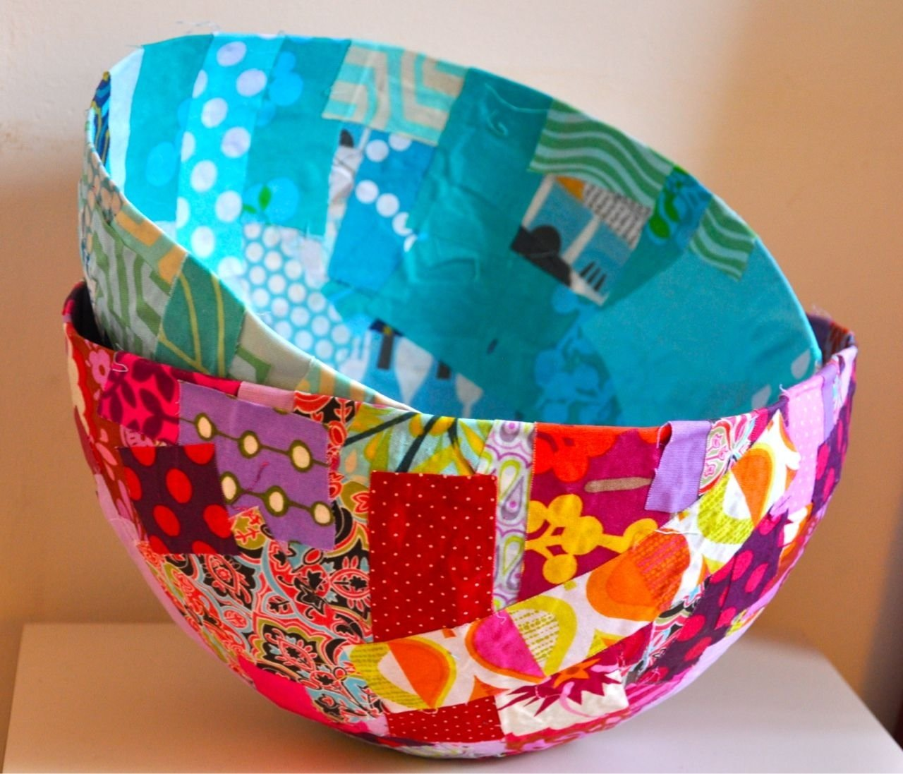 10 Spectacular Paper Mache Ideas For Adults fabric mache bowl 1 get a bowl and put plastic wrap on it 2 put