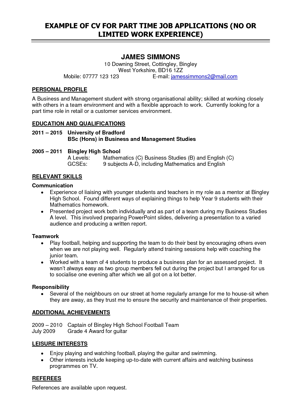 fair part time work resume template in cover letter for student part