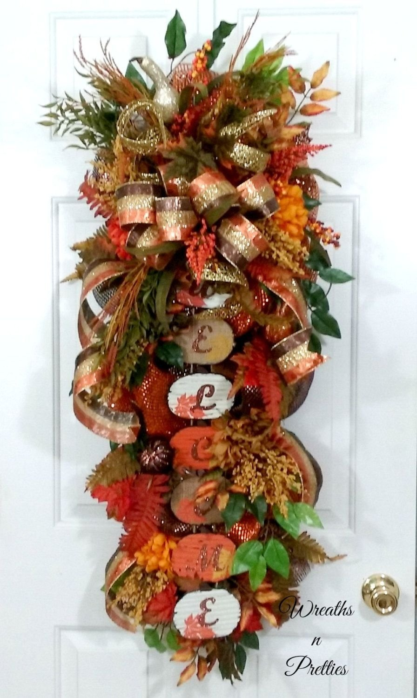 10 Fantastic Fall Wreath Ideas With Deco Mesh fall deco mesh swag fall wreath fall swag fall deco mesh wreath