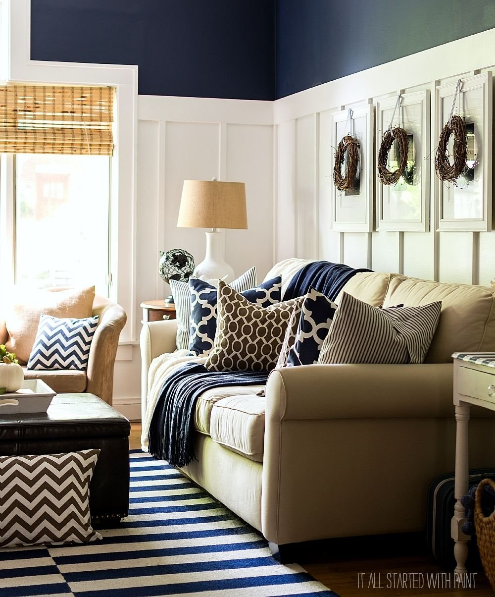 10 Attractive Blue And Brown Living Room Ideas fall decor in navy and blue batten neutral and living rooms
