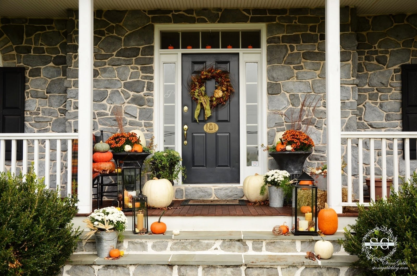 10 Lovely Front Door Fall Decorating Ideas fall on the front porch stonegable small front porch fall decorating