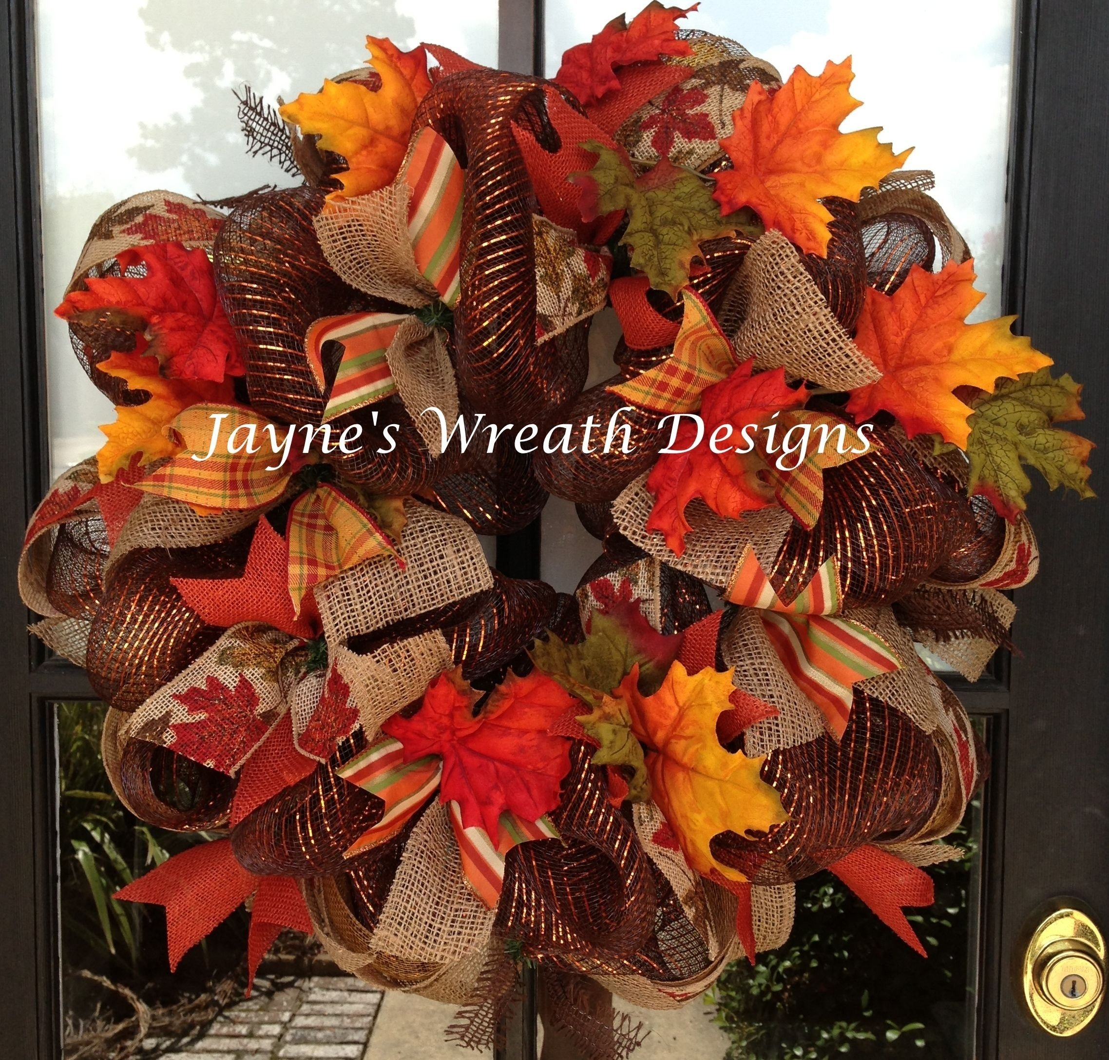 10 Attractive Deco Mesh Fall Wreath Ideas fall wreaths with fall leaves deco mesh burlap and multiple