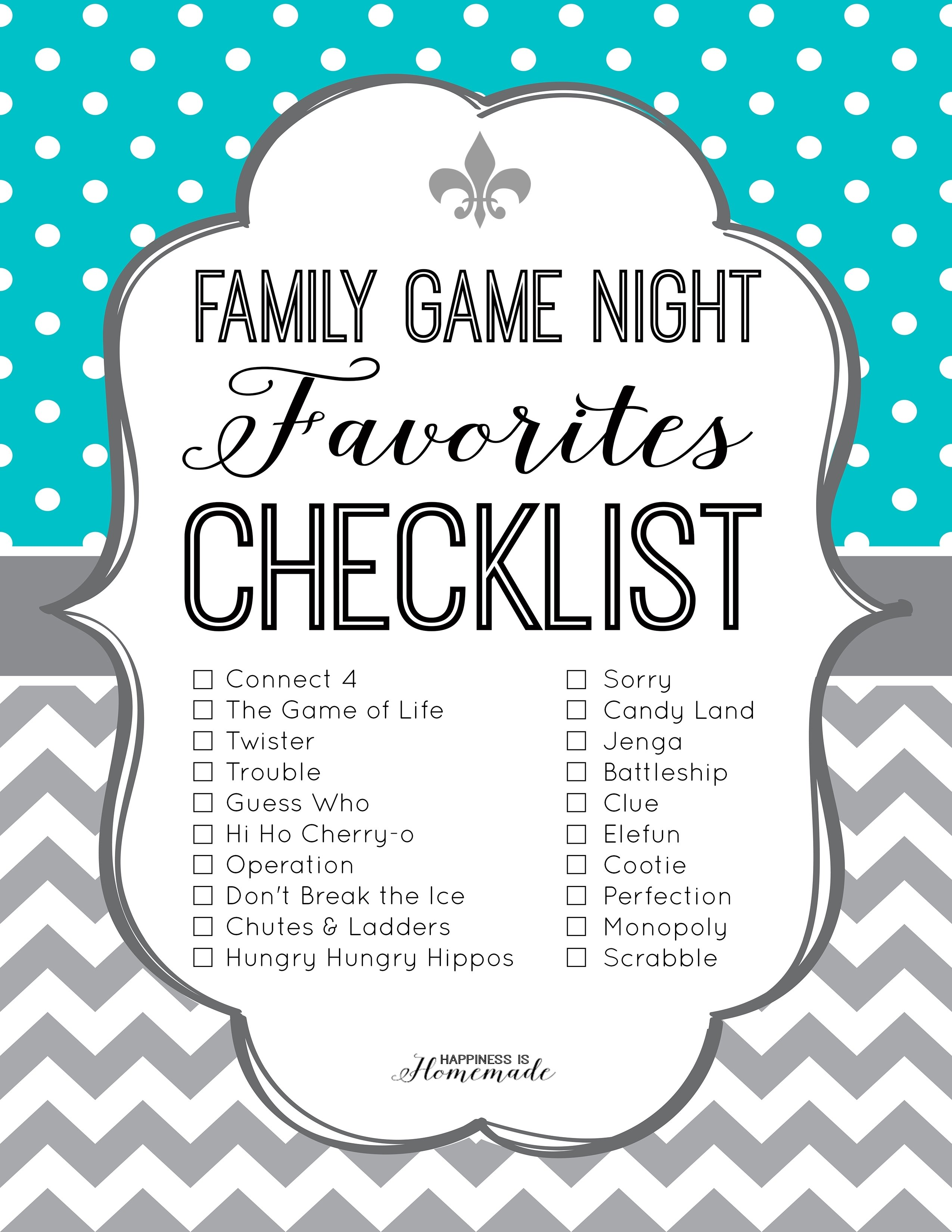 family game night favorites printable checklist from happiness is