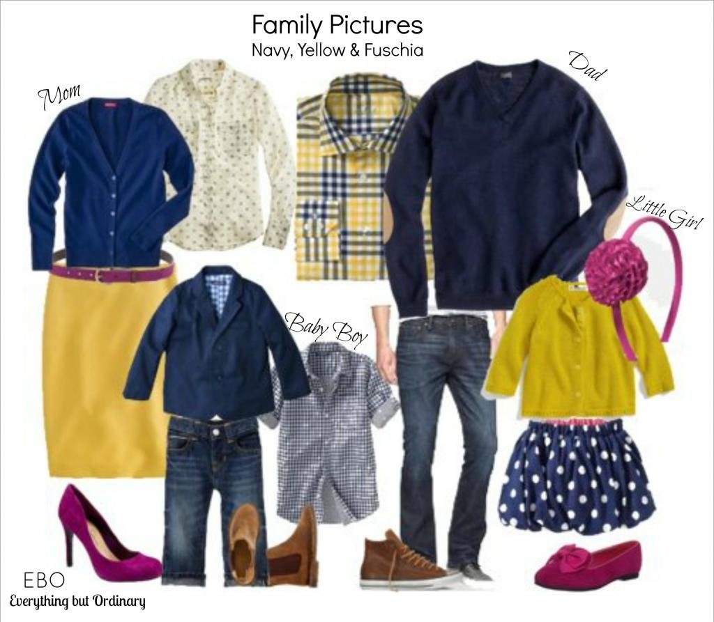 10 Cute Summer Family Photo Clothing Ideas family picture outfit ideas navy yellow and fuschia everything 2 2020