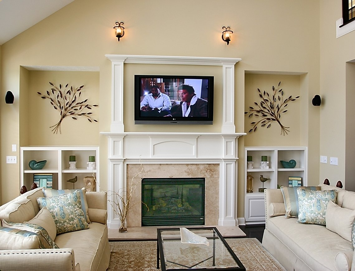 10 Lovely Living Room With Fireplace Ideas family room design with tv over fireplace decobizz 2020