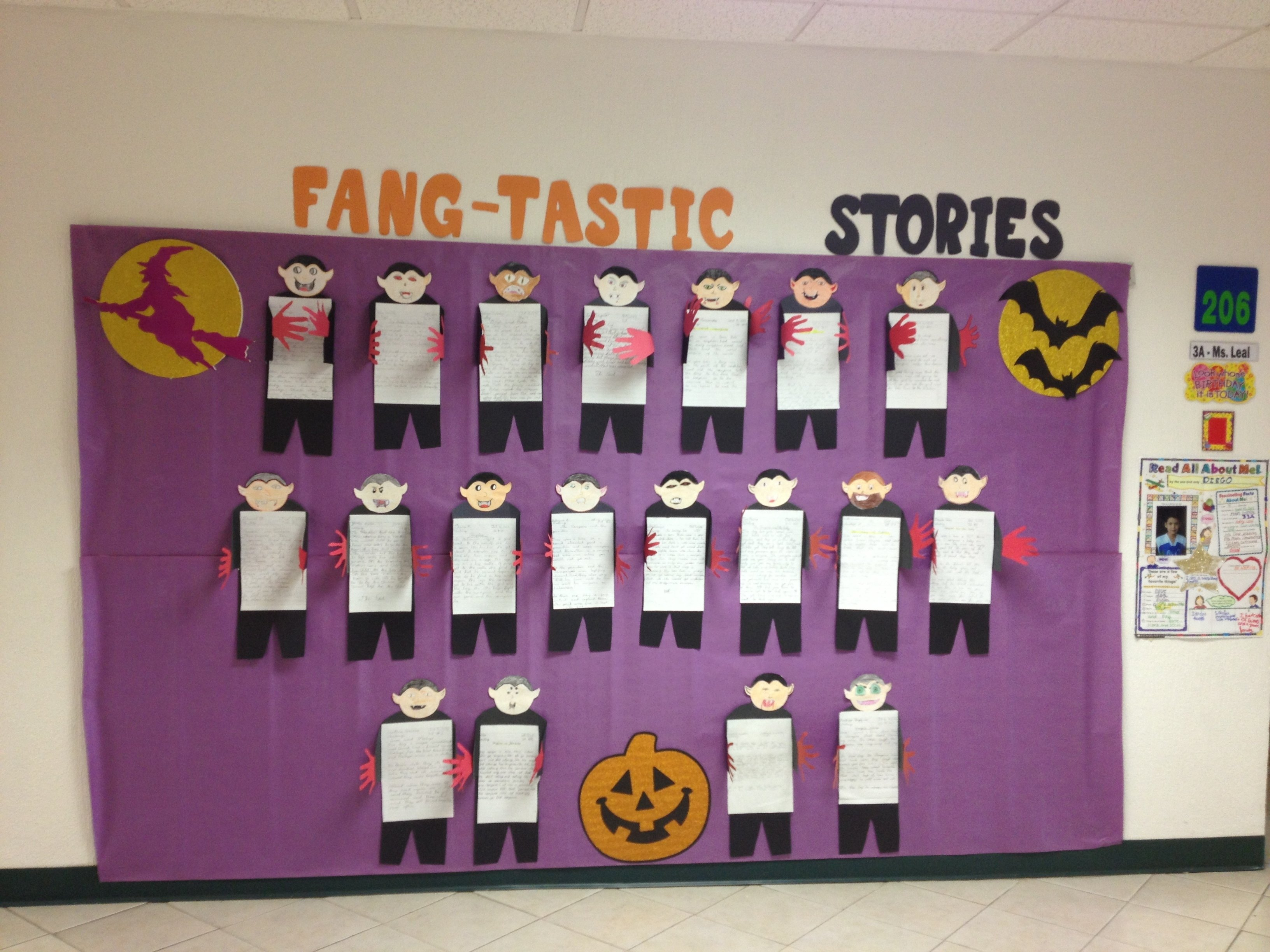 "fang-tastic stories"" is a fan-tastic title for a halloween creative"