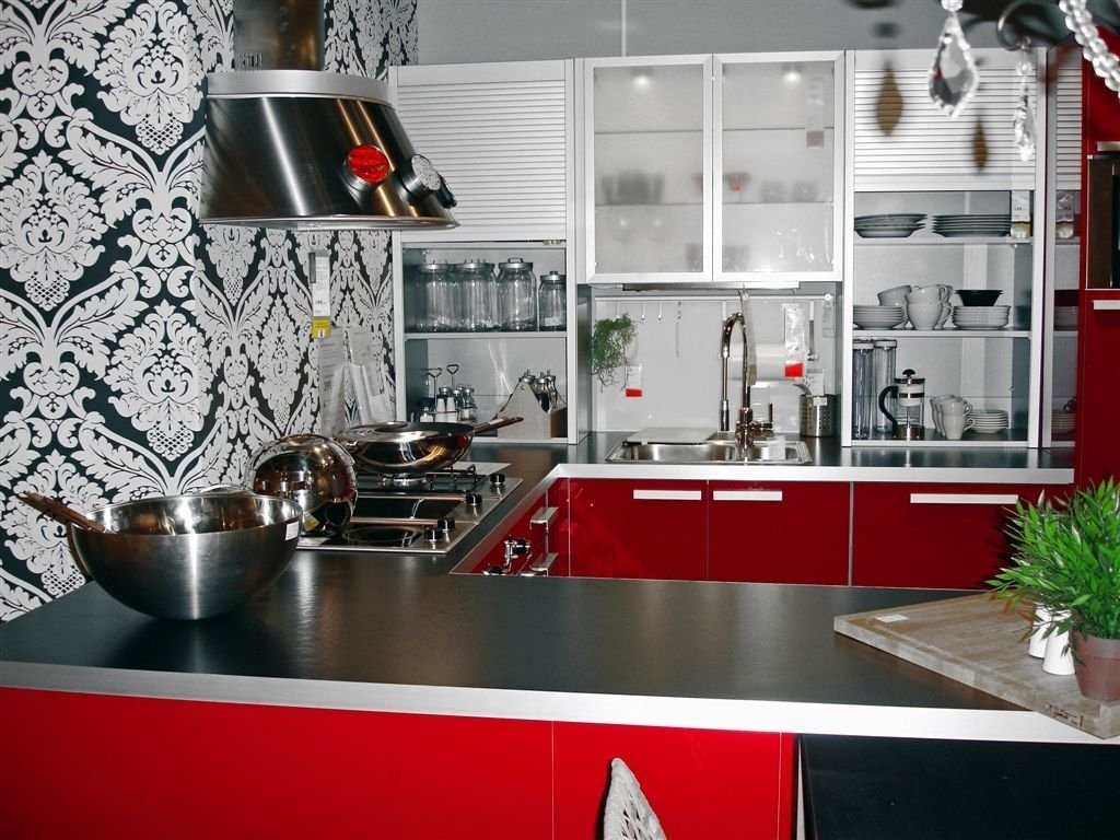 10 Attractive Red And Black Kitchen Ideas fascinating red black white kitchen decor with creative wall art 2021