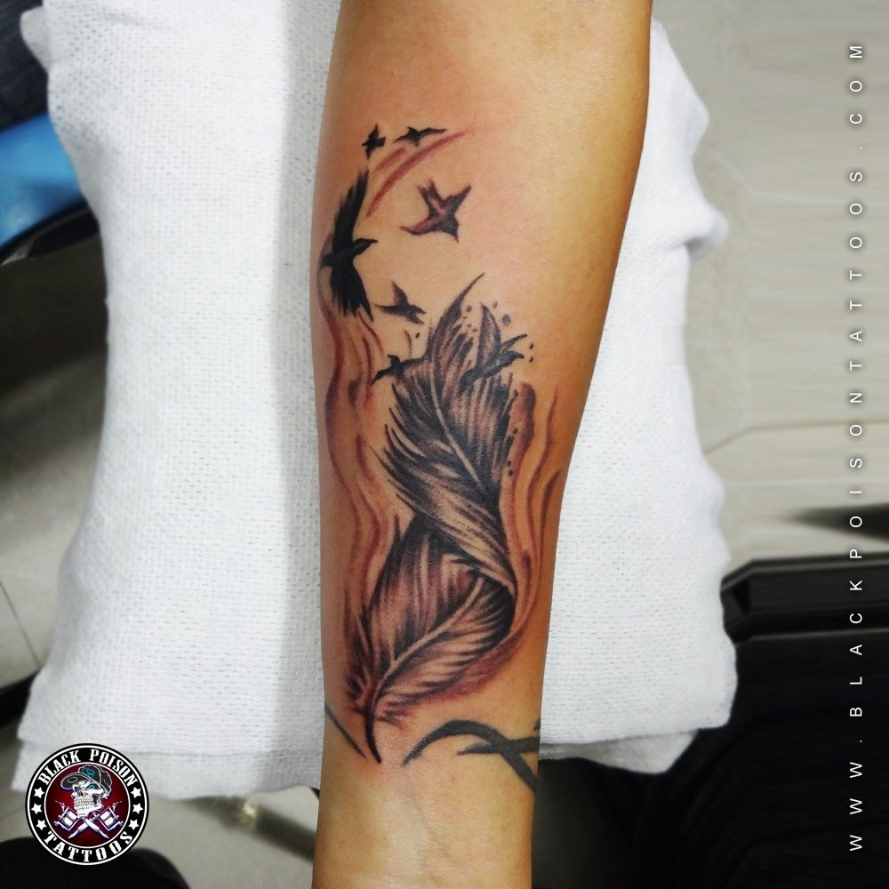10 Fashionable Unique Tattoo Ideas For Girls feather tattoos and its designs ideas images and meanings black 1 2021