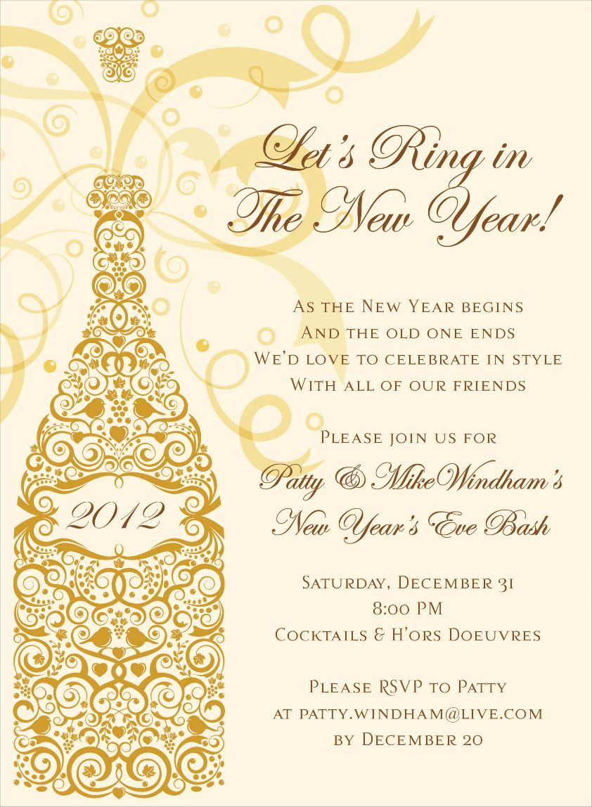 10 Elegant New Years Eve Invitation Ideas filigree champagne gold invitationsnoteworthy collections 2020