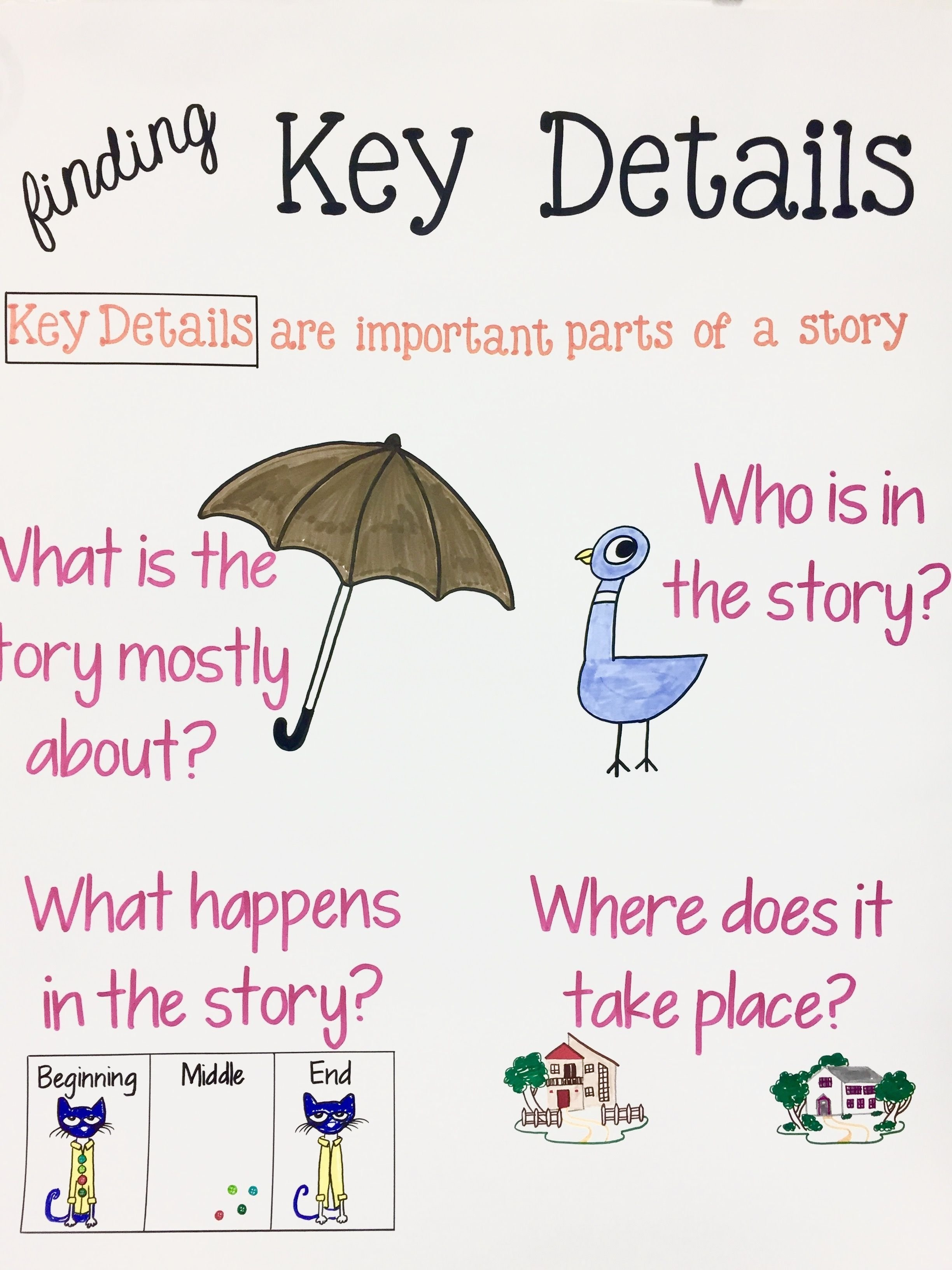 10 Pretty What Is Main Idea Of A Story finding key details grade 1 anchor chart main idea characters 2020