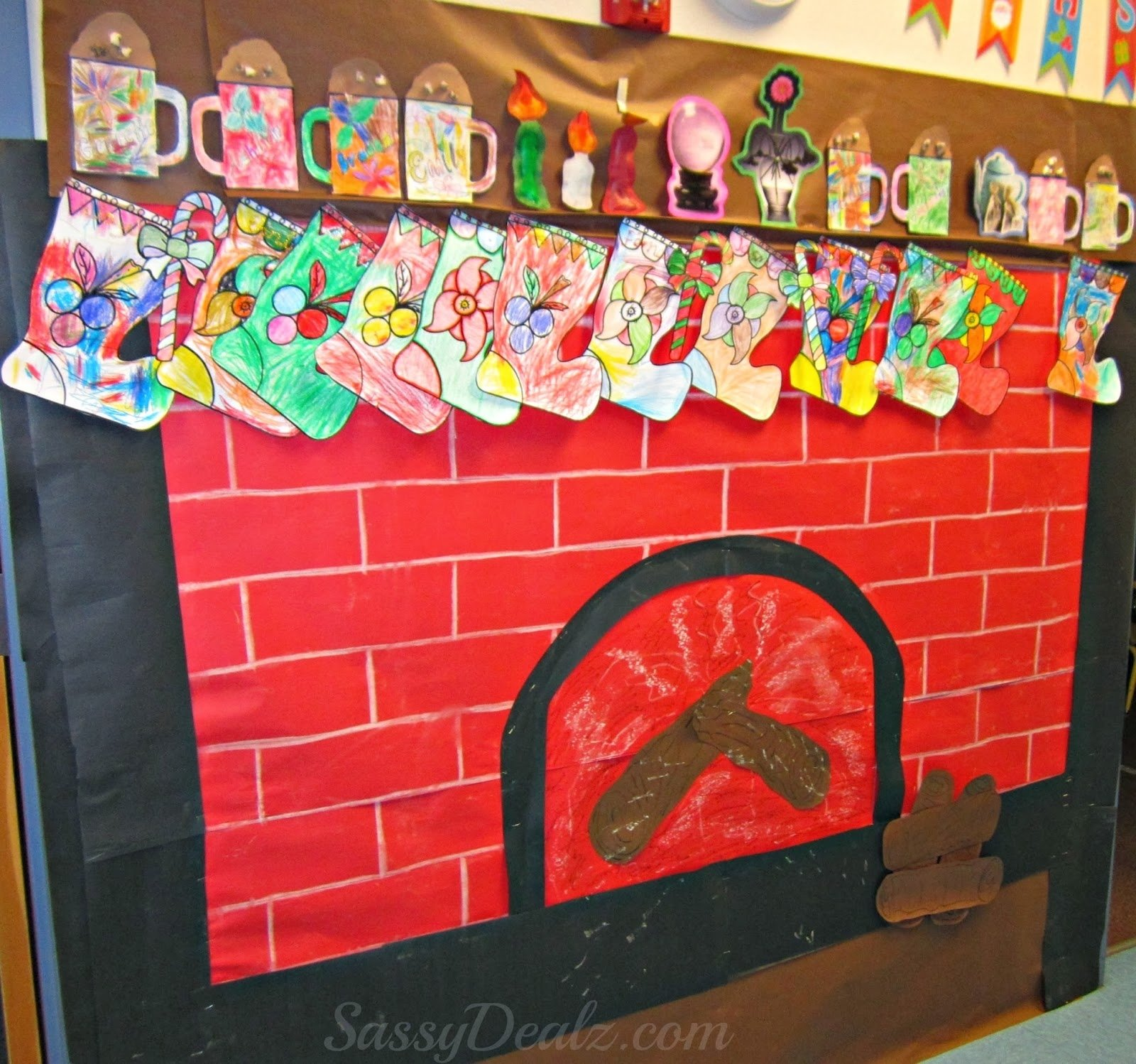 fireplace christmas bulletin board idea for your classroom - crafty
