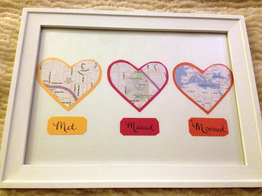 10 Stylish Ideas For First Anniversary Gift first anniversary gift map hearts display tutorial and other 3 2020