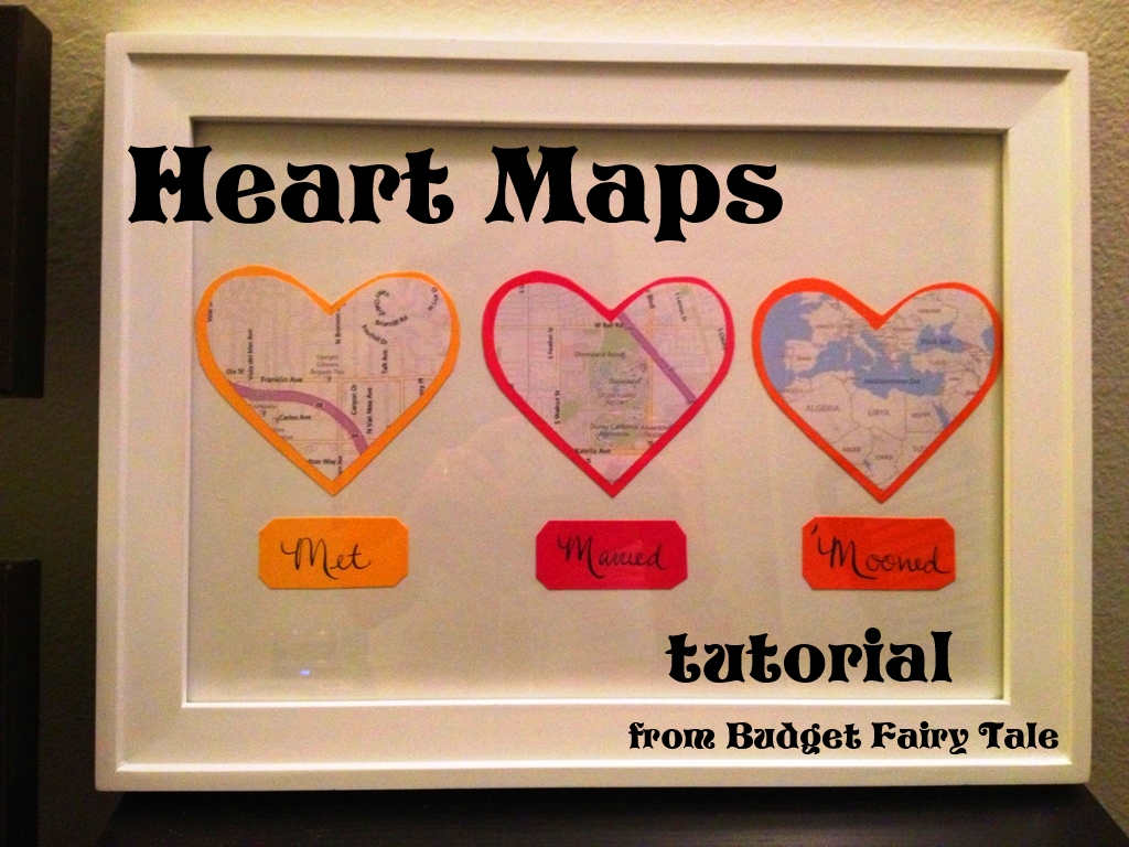 first anniversary gift - map hearts display tutorial (and other