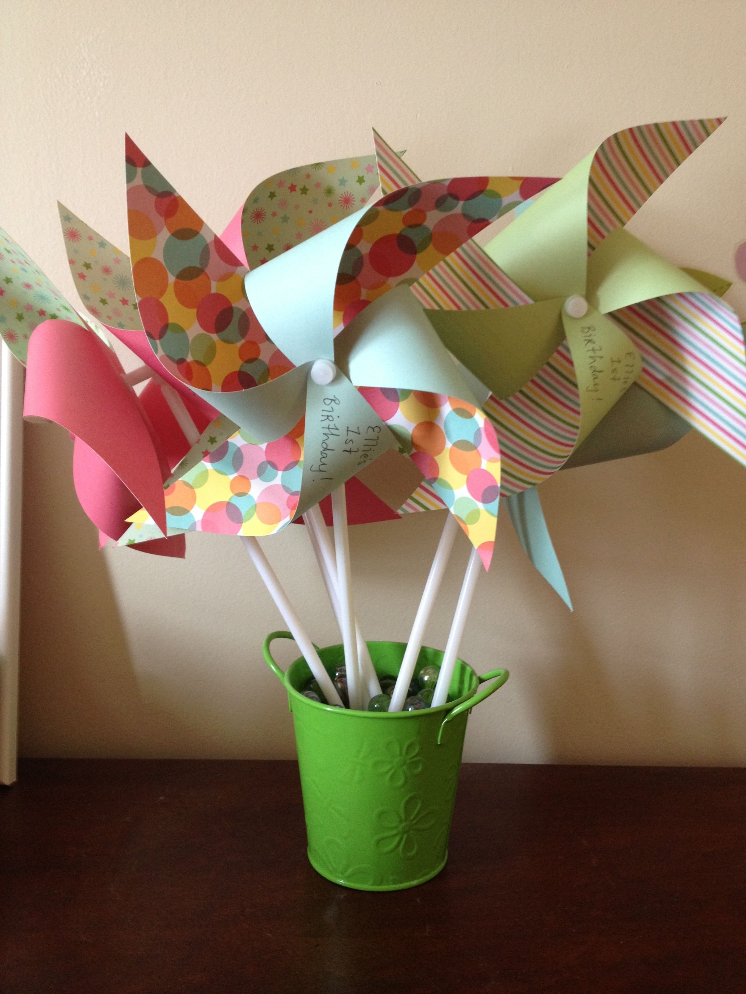 10 Awesome First Birthday Ideas Martha Stewart first birthday center piece used martha stewart pinwheel kit 2021