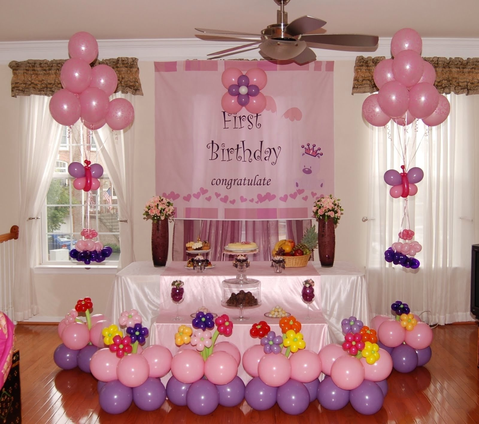 10 Most Recommended Girls 1St Birthday Party Ideas first birthday decoration ideas at home for girl beautiful home avec 2020