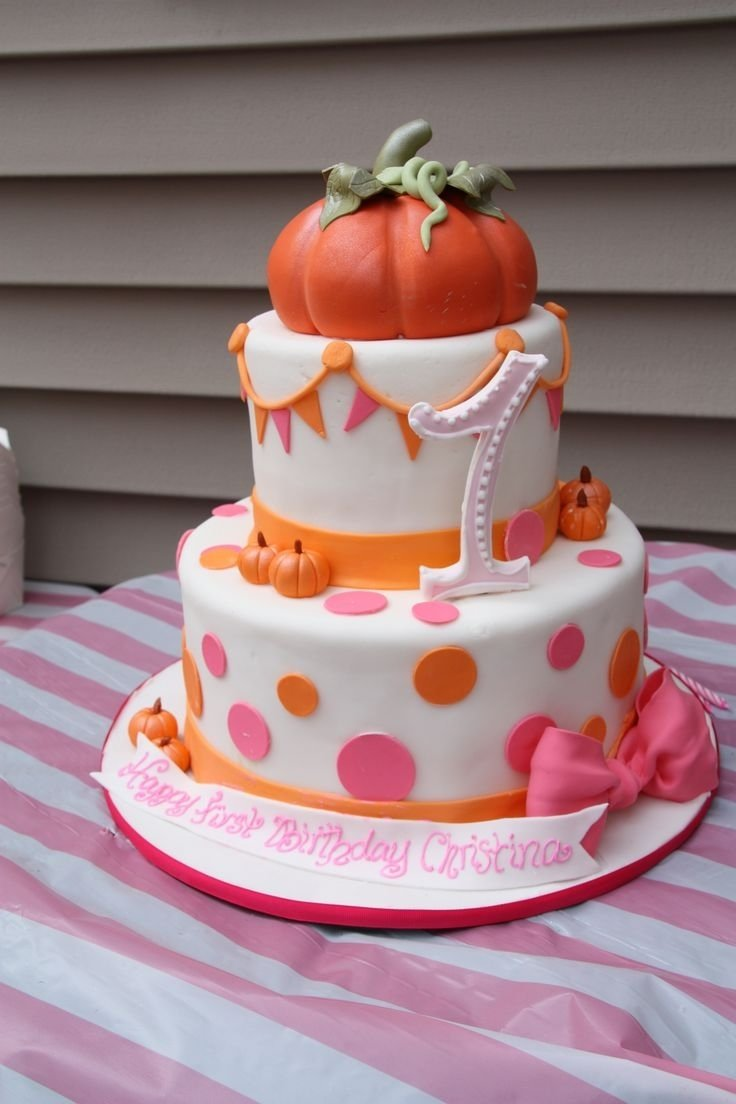 10 Stylish Fall First Birthday Party Ideas first birthday pumpkins and pink fall festival birthday cake 1