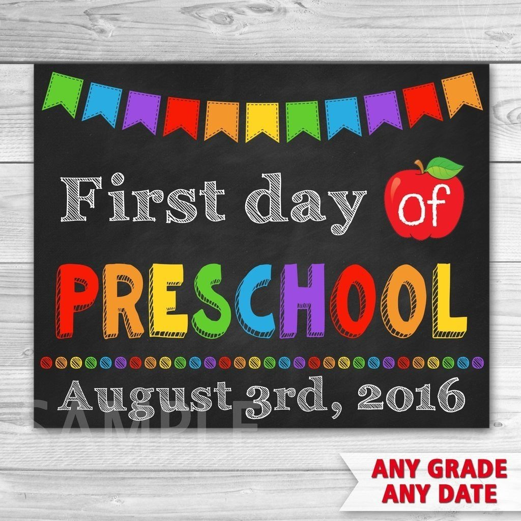 first day of preschool sign. first day of kindergarten sign. first