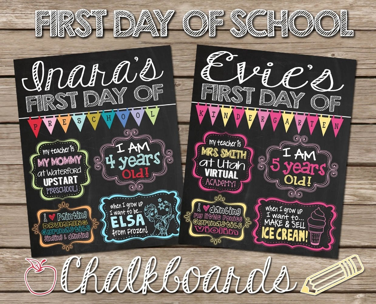 10 Fabulous First Day Of Preschool Ideas first day of school chalkboard poster sign for first day of