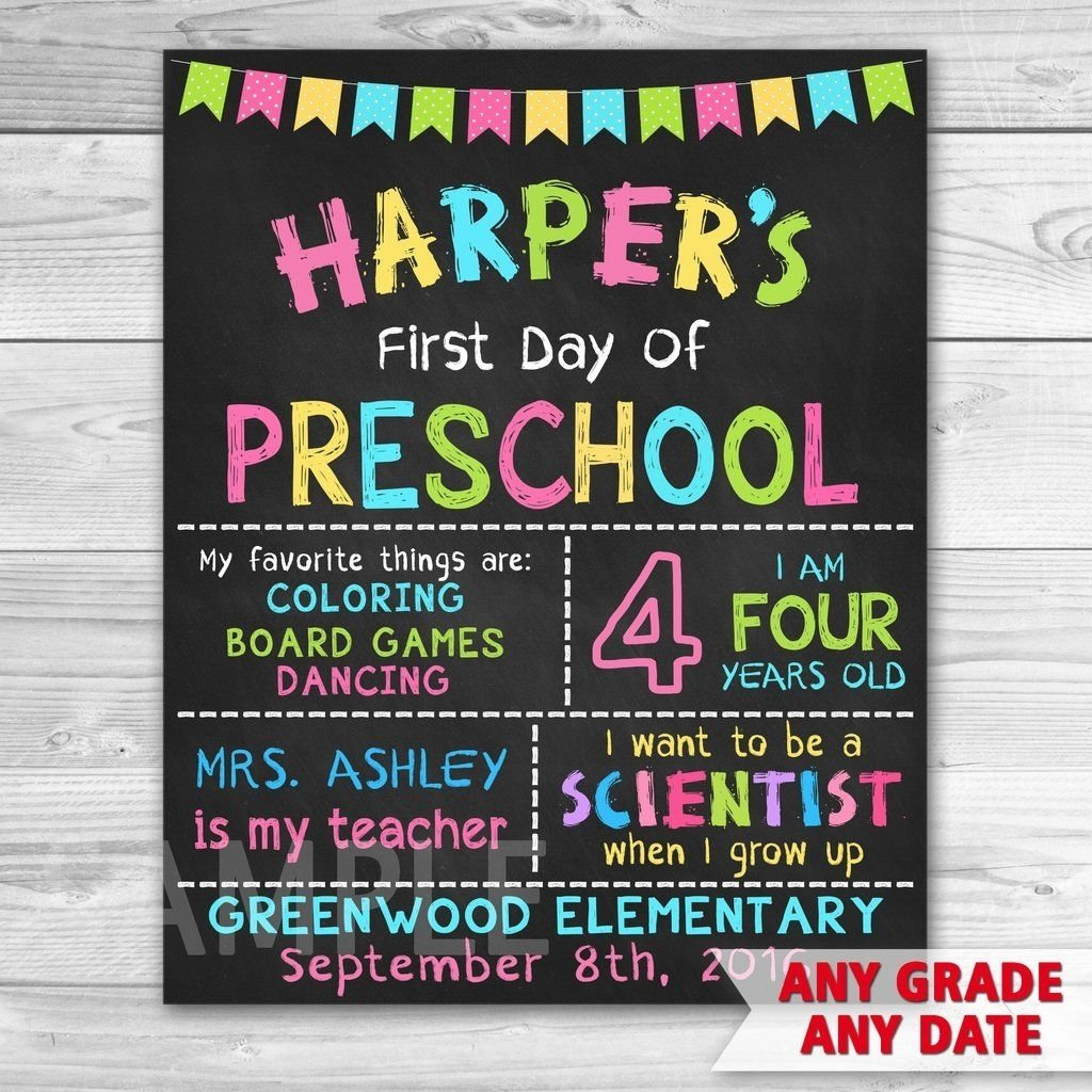 10 Fabulous First Day Of Preschool Ideas first day of school first day of preschool sign first day of first 2020