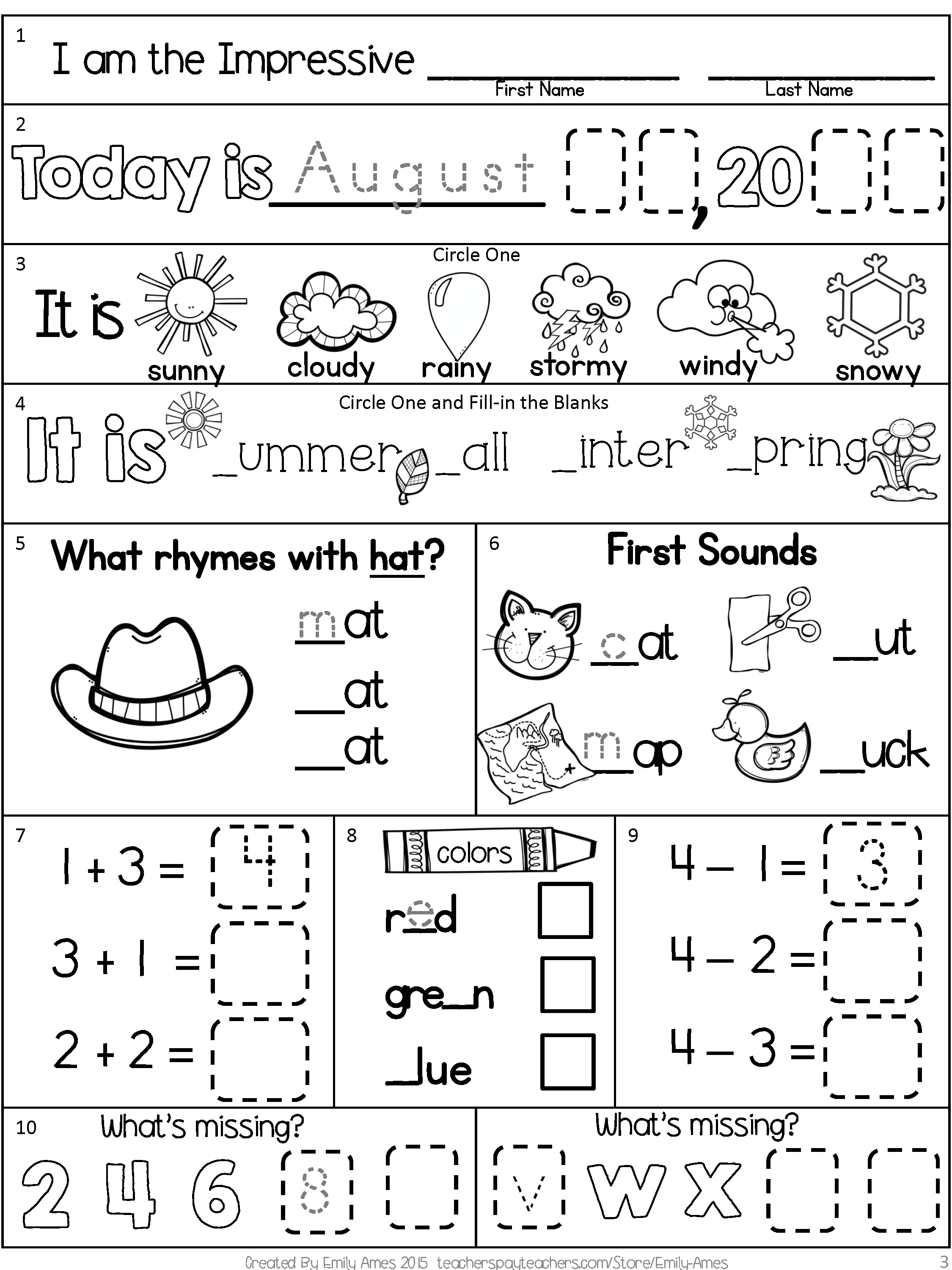 10 Trendy Back To School Ideas For First Grade first grade morning work freebie for back to school beginning of the 2021