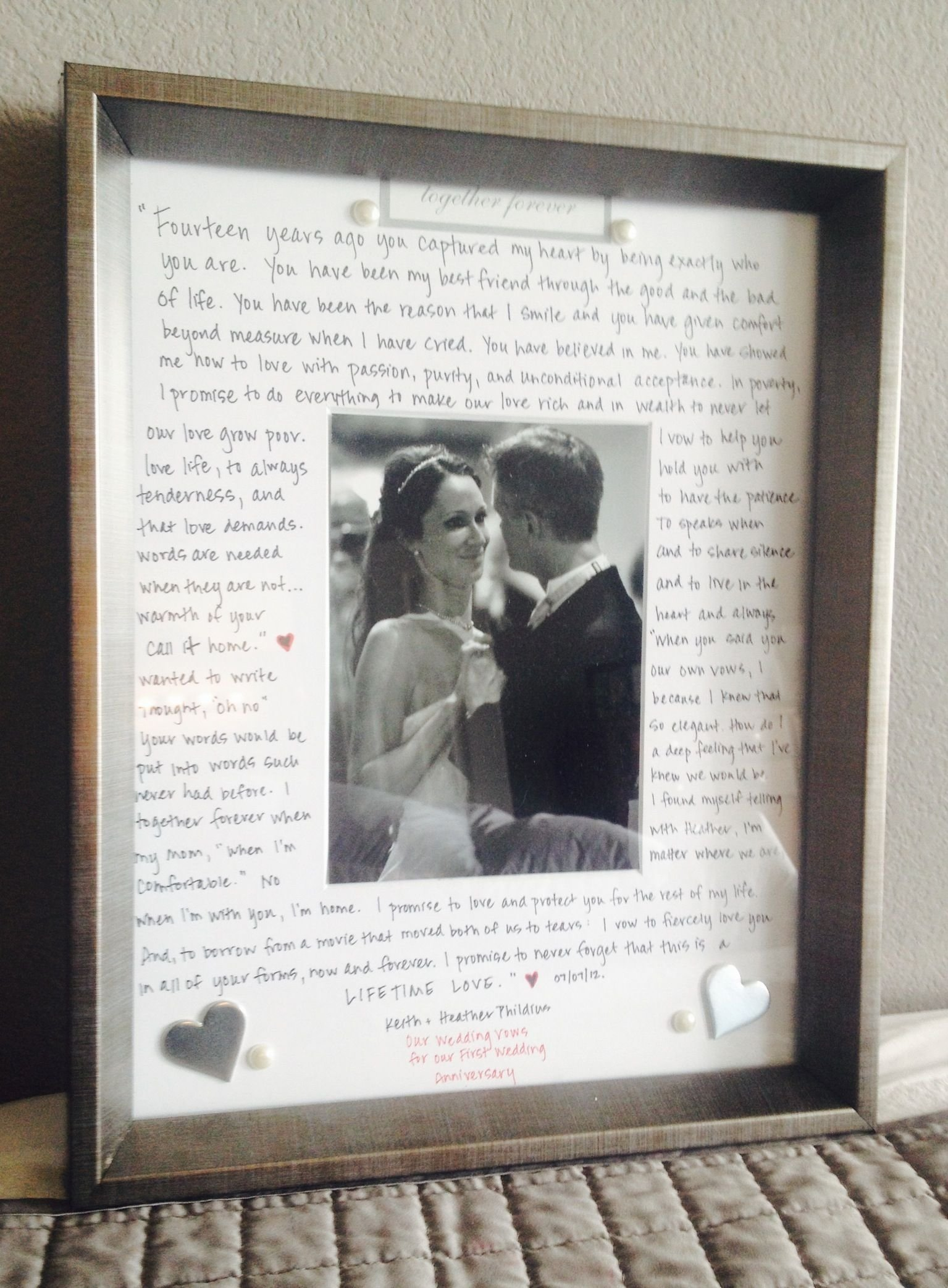first wedding anniversary gift to my husband - our vows written out