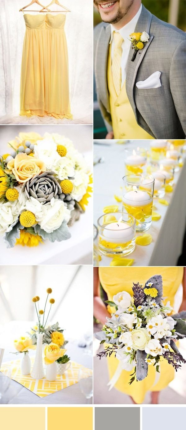 10 Most Recommended Grey And Yellow Wedding Ideas five beautiful wedding colors in shades of grey gray wedding 2021