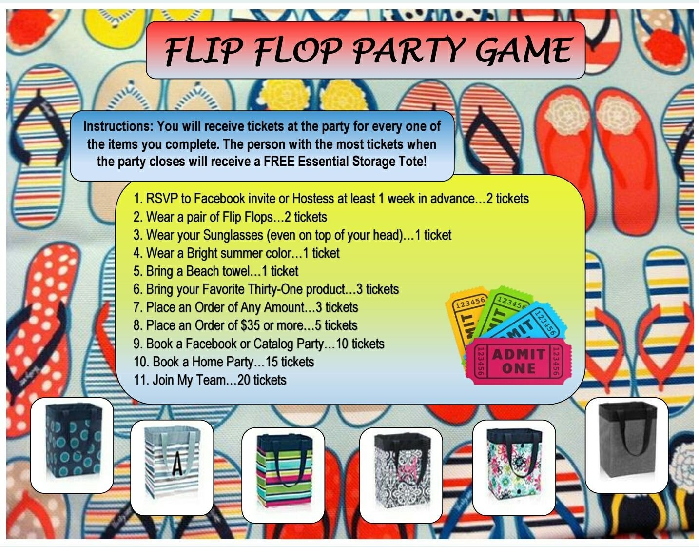 10 Fabulous Thirty One Party Game Ideas flip flop party game thirty one thirty one gifts thirty one