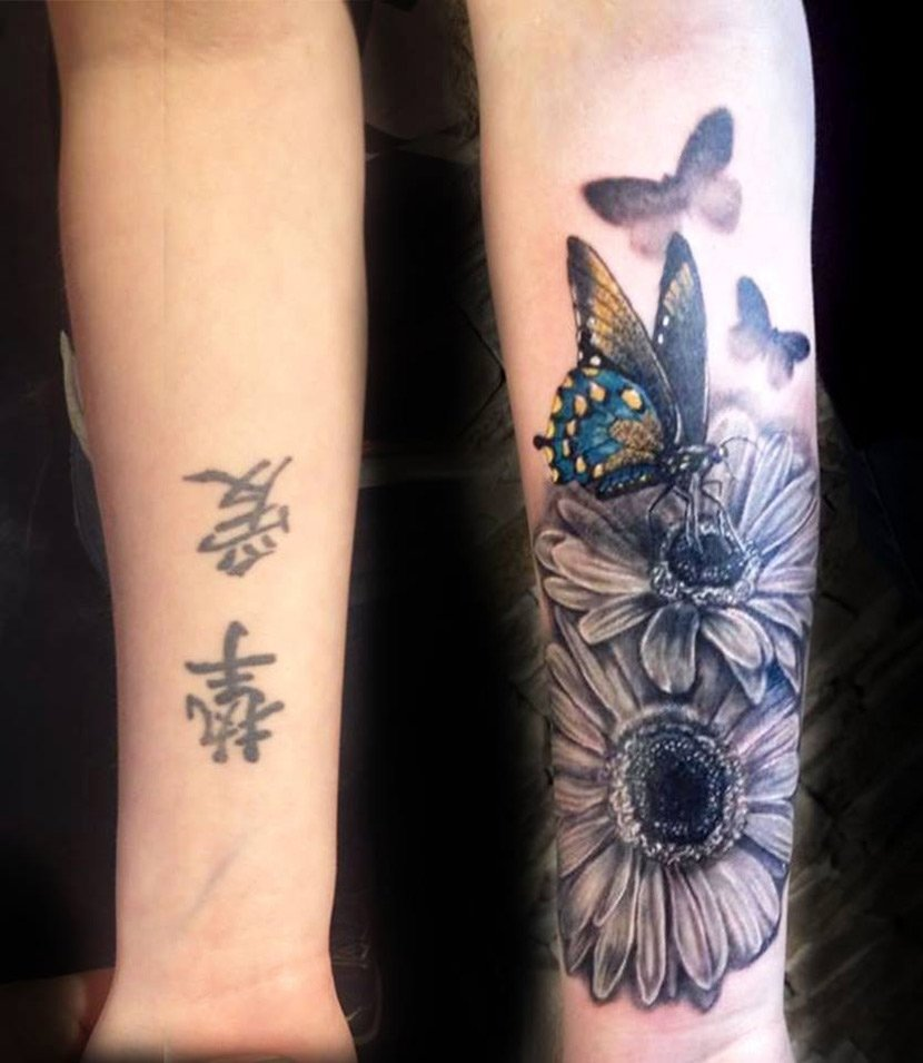 10 Nice Good Cover Up Tattoos Ideas flowers butterflies cover up best tattoo design ideas 1