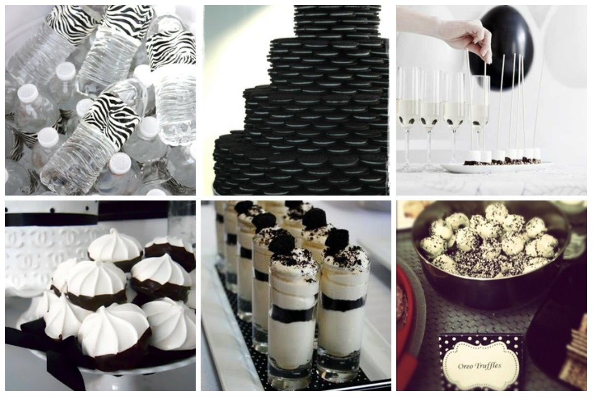 food for a black and white themed party | party/black and white