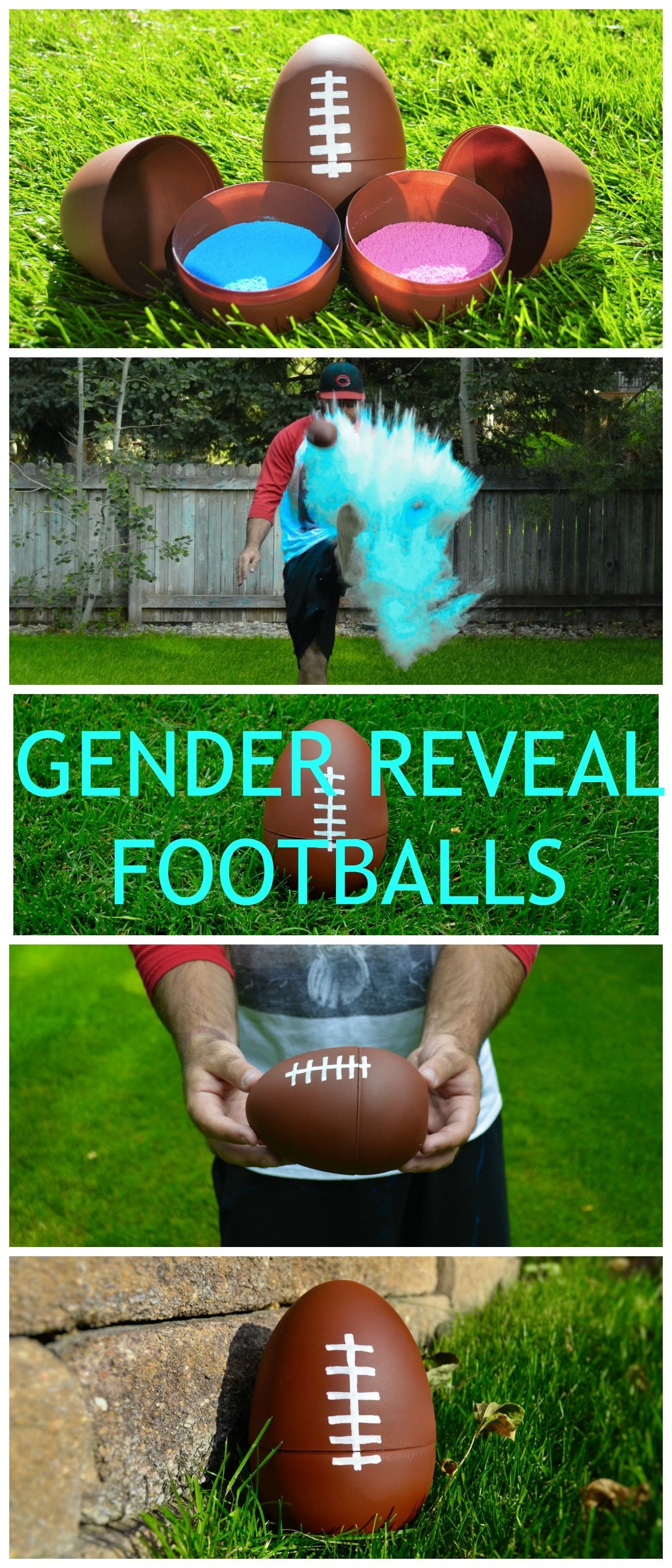 10 Cute Cute Ideas For Revealing Baby Gender football gender reveal balls with new bright colors reveal parties 1