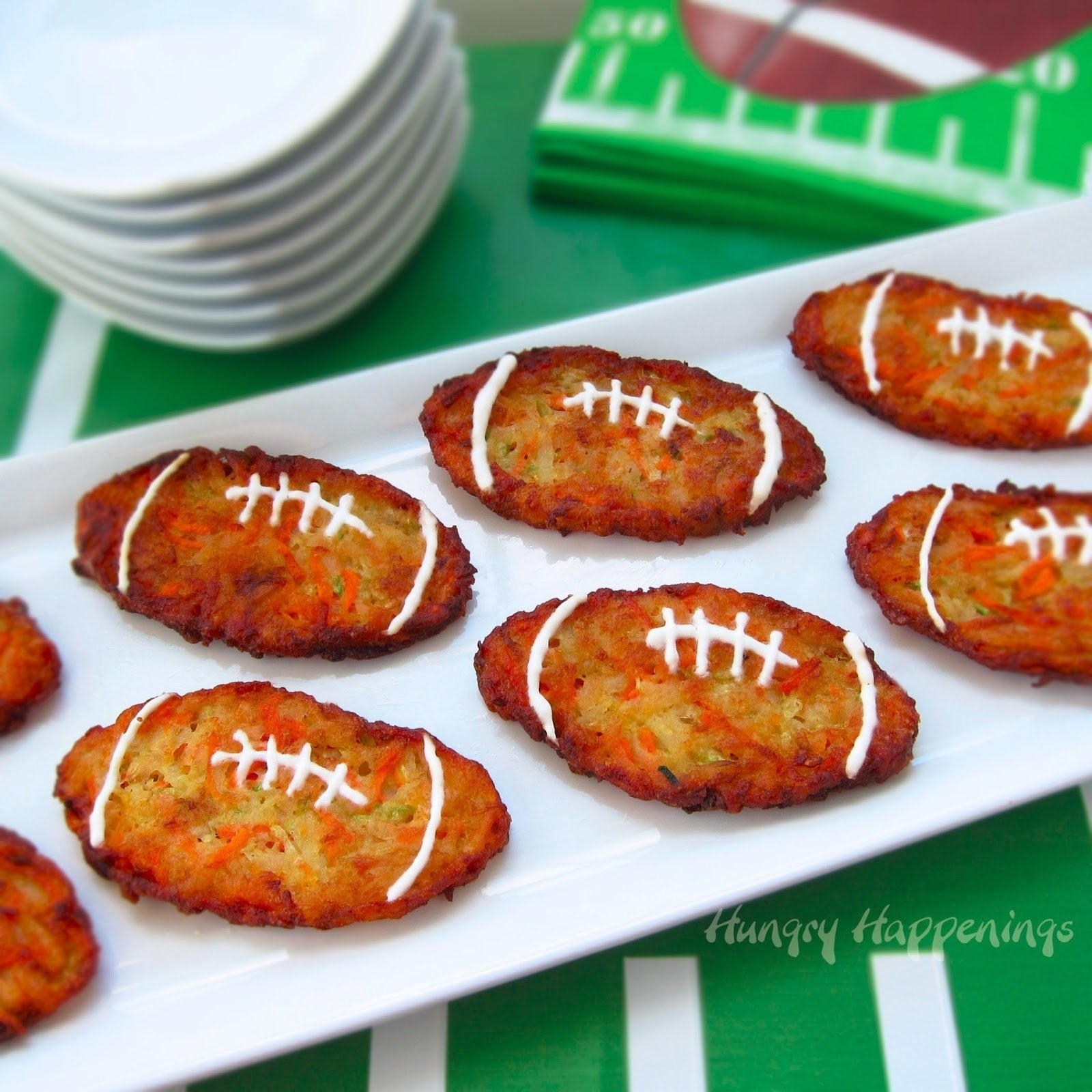 football shaped zucchini fritters (aka, mücver) - fun super bowl